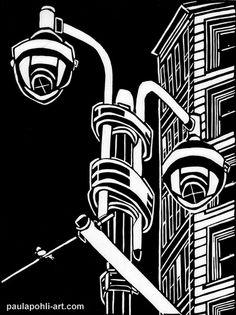 """Manhattan Lights"" - Paula Pohli (linocut)"