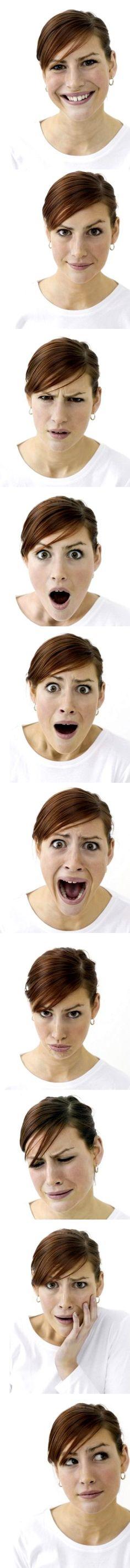Woman facial expressions sheet