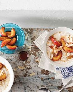 Coconut Breakfast Oatmeal made with almond milk and sauteed nectarines. More like a delicious pudding.