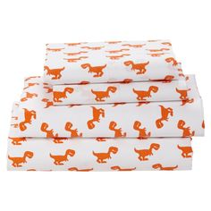The prints might be little, but they're big on style. Sheet Set features a herd of orange dinos on a neutral background. Made from 100% cotton, the subtle, yet colorful patterns make it easy to mix and match various prints and patterns to create your own one-of-a-kind bedding set. Also available as Crib Sheets or Toddler Sheets.
