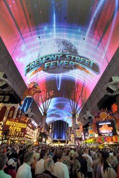 Fremont Street Experience -- now you can zipline it! >> Located in classic Downtown Las Vegas, this five-block pedestrian promenade features 10 casinos, 10,000 slots and more than 60 restaurants, bars and lounges. Overhead is Viva Vision -- the largest big screen on the planet -- featuring nightly state-of-the-art light and sound shows. Photo credit: Las Vegas News Bureau