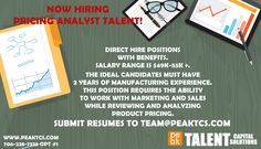 Now Hiring Pricing Analyst.  Call 706-228-7325 opt. 1