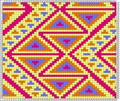 mochila wayuu by lucy Tapestry Crochet Patterns, Bead Loom Patterns, Weaving Patterns, Embroidery Patterns, Cross Stitch Patterns, Mochila Crochet, Bag Crochet, Crochet Chart, Crochet Purses