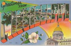 Greetings from... Mississippi vintage linen postcard