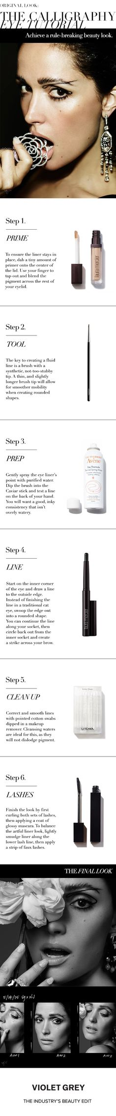 Original Look: The Calligraphy Eye Tutorial | Kate Lee provides instruction on how to achieve Rose Byrne's rule-breaking liquid eyeliner look. | #VioletGrey, The Industry's Beauty Edit