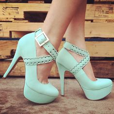 Perforated Crisscross Platform Heels