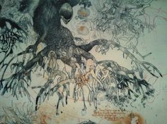 Mangrove roots - by Jorg Schmeisser Work In Australia, Collagraph, Grain Of Sand, A Level Art, Australian Art, Contours, Nature Inspired, Botanical Art, Printmaking