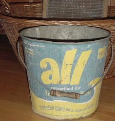 Shabby Chippy Vtg ALL LAUNDRY DETERGENT Ad Metal BUCKET PAIL w WOOD BAIL Kitchen #AllLaundryDetergent