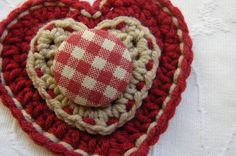 Ruby Red and Taupe Crocheted Heart Brooch. $12.00, via Etsy.