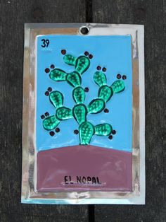 Mexican Tin Loteria Card El Nopal the Cactus Ornament Oaxaca Folk Art Hand Made