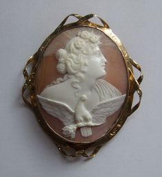 ANTIQUE VICTORIAN HAND CARVED SHELL CAMEO OF THE GODDESS OF THE DAY 9k GOLD  BROOCH £225 http://www.ebay.co.uk/itm/ANTIQUE-VICTORIAN-GODDESS-OF-THE-DAY-CAMEO-BROOCH/292085250392?_trksid=p2047675.c100005.m1851&_trkparms=aid%3D222007%26algo%3DSIC.MBE%26ao%3D2%26asc%3D40656%26meid%3D7bbbd4760cf54189a353f69f47b98418%26pid%3D100005%26rk%3D2%26rkt%3D6%26sd%3D272634734237  THE BROOCH  IS 6.7 cm  X 5.6 cm OR 2.6 X 2.2 inch .  THE CONDITION IS VERY GOOD . THERE IS A TINY HAIR LINE.  RETURN ACCEPTED…