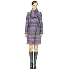 V8933   Misses' Coat   Coats/Capes   Vogue Patterns Semi-fitted, back standing collar