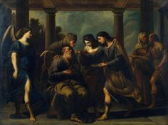 Tobias Heals his Blind Father, by Andrea Vaccaro. Ca. 1640. Oil on canvas. On VintPrint.com as a #poster. #art #religion