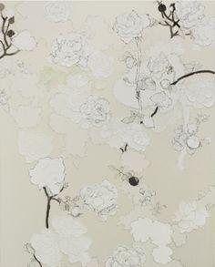 """薔薇の花の枯れた時をおそれる   """"I am afraid time came when roses to wither"""", 2010  Yuko Someya  pencil, lithograph ink, chinese ink, Japanese paper on canvas mounted on wood panel  150.0 x 120.5 cm"""