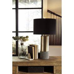 Signature Design by Ashley Jacek Gray/Brass Finish Metal Table Lamp (Set of 2)