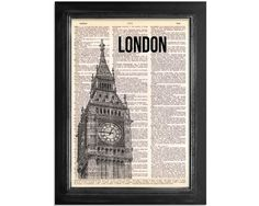 London's Big Ben - Printed on Upcycled Vintage Dictionary Paper - 8x10.5 - the clock tower of Big Ben so perfect - add it to the collection
