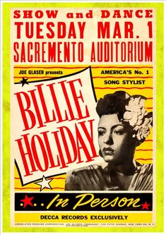 "Reproduction Jazz Poster, ""Billie Holiday"", Home Wall Art, Size: Billie Holiday, Blues Rock, Jazz Poster, Blue Poster, Soul Jazz, Rock Posters, Band Posters, Event Posters, Vintage Concert Posters"
