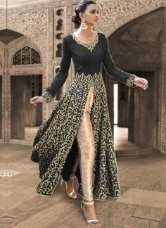 Black Embroidery Sequins Work Stone Work Bhagalpuri Silk Designer Anarkali Suit…