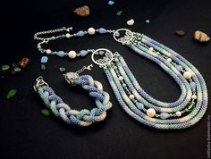 """комплект """" Ласковый прибой"""" - колье,ожерелье,колье на шею,многорядное колье"""