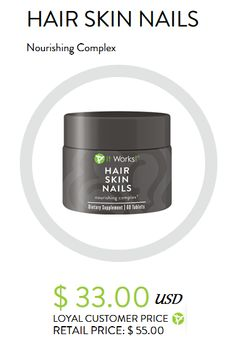 Be a more radiant, youthful looking you with support for stronger nails, softer and smoother skin, and shine-worthy hair! With essential vitamins, minerals, and plant-based nutrients, Hair Skin Nails enhances your own natural collagen and keratin production, supports healthy cell growth, and boosts your body's free radical fighting defenses. It's optimal nourishment to look your beautiful best from the inside out!