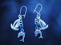 Silver dolphin earrings, ship charm, boat charm, dangle earrings, Nautical earrings, dolphin jewellery, ship earrings, silver charm earrings
