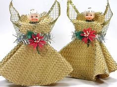 1950s Vintage Christmas Angels, Holt Howard Angels, Porcelain Heads and Net Skirts, Free Shipping