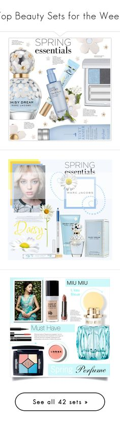"""""""Top Beauty Sets for the Week"""" by polyvore ❤ liked on Polyvore featuring beauty, Marc Jacobs, Drybar, RMK, Too Faced Cosmetics, Estée Lauder, islandgetaway, Prada, marcjacobs and springperfume"""