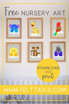 12 irresistibly cute, free printables for your nursery, playroom or kids bedroom. DIY your jungle themed nursery decor with these bright, colourful animals to download and print at home. Baby boy or baby girl? This artwork is an easy, low cost idea to brighten a gender neutral nursery wall. Create a gallery of elephant, lion, monkey, tiger, giraffe, hippo, parrot + more.  #FeltTails #printable #nurserydecor Zebra Nursery, Nursery Neutral, Girl Nursery, Jungle Nursery, Diy Nursery Decor, Nursery Wall Decals, Wall Decor, Themed Nursery, Nursery Themes