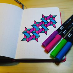 Draw patterns in Bullet Journal. How to use your bullet journal page to draw coloring patterns. Dotted Bullet Journal, Bullet Journal Writing, Graph Paper Drawings, Cool Drawings, Geometric Drawing, Geometric Art, Pattern Drawing, Pattern Paper, Harry Potter Cross Stitch Pattern
