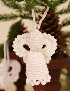 """Lucifer - Crochet DROPS Christmas angel in """"Cotton Viscose"""" to hang in the tree. - Free pattern by DROPS Design Drops Design, Christmas Projects, Holiday Crafts, Christmas Crafts, Christmas Angel Ornaments, Christmas Angels, Holiday Crochet, Crochet Gifts, Crochet Angels"""