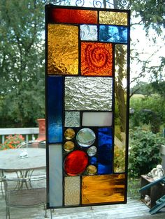 Stained Glass Orange Red and Amber Prairie Abstract Geometric Sun Catcher Panel