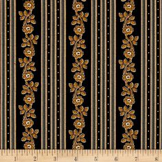 Little House On The Prairie Stripe Black from @fabricdotcom  Designed and licensed by Friendly Family Productions for Andover, this reproduction cotton print is perfect for quilting, apparel and home décor accents. Colors include gold, brown and ivory.