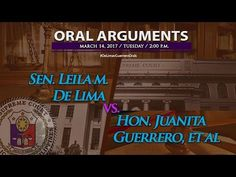 Senator Leila M. De Lima vs. Hon. Juanita Guerrero Oral Arguments - March 14, 2017 - WATCH VIDEO HERE -> http://philippinesonline.info/trending-video/senator-leila-m-de-lima-vs-hon-juanita-guerrero-oral-arguments-march-14-2017/   G.R. No. 229781 (Senator Leila M. De Lima vs. Hon. Juanita Guerrero, in her capacity as Presiding Judge, Regional Trial Court of Muntinlupa City, Branch 204, People of the Philippines, P /DIR. Gen. Ronald M. Dela Rosa, in his capacity as Chief of th