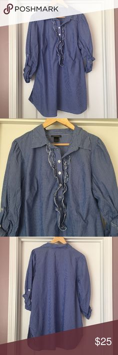 "Lane Bryant Women's & Striped Blouse Size 14/16 Good used condition from a smoke free and pet free home. 1 business day shipping. Please message me if you have questions about this item. I am happy to assist you.  shoulder to shoulder: 16.5""  armpit to armpit: 22:2""  shoulder to hem: 31.5""  sleeve length: 22""  There is a small hole on the lower right side of the top as shown in the last photo. Stripes are blue and white.  The blouse is long enough to be worn with leggings as a dress also…"
