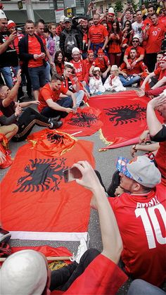 Albanian supporters gather ahead of their EURO 206 championship match against Romania on June 19 2016 in Lyon France