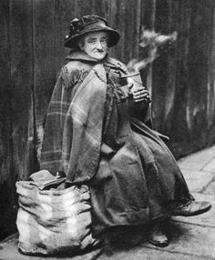 Old woman back of Fleet Street London 19261927 She may have been a descendant of one of the old 'queens' of Alsatia Illustration from Wonderful...  Lady Beetle?