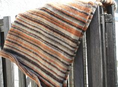 Modern Hand Knit Striped Throw by LilRedKnittingHood on Etsy, $50.00