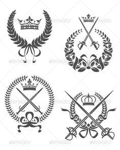 Retro Laurel Wreathes #GraphicRiver Retro laurel wreathes with swords, sabers and crowns for heraldry design.