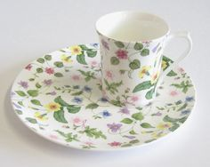 Vintage Tennis/Snack Set Queen's China Floral by TheWhistlingMan