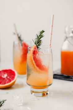 This grapefruit soda, made with a naturally sweetened simple syrup, is a great anytime drink. Add a splash of booze and you've got a quick, low-sugar cocktail in minutes! | from Lauren Grant of Zestful Kitchen #naturallysweetened #naturallysweetenedcocktail #lowsugarcocktail #healthycocktail #homemadesoda #dryjanuary