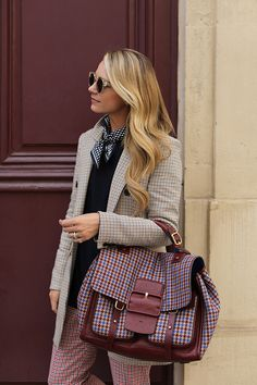 Plaid in Paris // Blair Eadie wears a Veronica Beard plaid blazer with plaid pants and Gucci loafers // Click through to see more casual suiting looks at Atlantic-Pacific Workwear Fashion, Fall Fashion Outfits, Winter Fashion, Office Fashion, Blazer With Jeans, Plaid Pants, Plaid Blazer, Winter Office Wear, Long Black Blazer