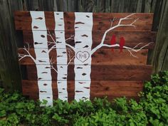 handpainted pallet art with aspen trees and birds