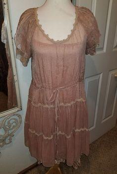 a'reve Women's Vintag two piece dress. Mauve SZ L Mauve solid fabric under sheer #areve #twopiecesheerlace #PartyCocktail