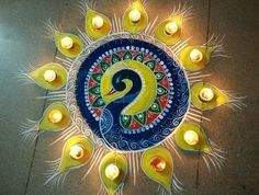 peacock rangoli designs for diwali. | HappyShappy - India's Best Ideas, Products & Horoscopes Best Rangoli Design, Rangoli Designs Latest, Latest Rangoli, Simple Rangoli Designs Images, Rangoli Designs Flower, Rangoli Patterns, Free Hand Rangoli Design, Rangoli Ideas, Colorful Rangoli Designs