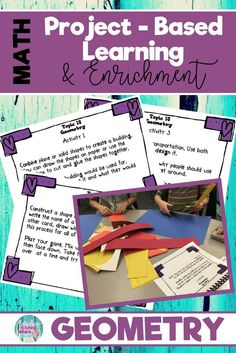 8 interactive and fun and grade common core math enrichment projects that foster real life problem-solving. These project-based activities challenge elementary students and are perfect for gifted or highly capable students. Click the link to see w Teaching Secondary, Teaching Math, Teaching Ideas, Problem Based Learning, Project Based Learning, Geometry Activities, Math Activities, 1st Grade Math, Second Grade