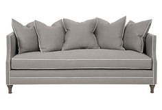 Thompson Sofa, Gray on OneKingsLane.com $2300. Love the slate gray color and white piping!