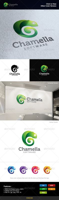 Chameleon and Eagle Logo Design Template Vector #logotype Download it here: http://graphicriver.net/item/chameleon-and-eagle/8295384?s_rank=168?ref=nesto
