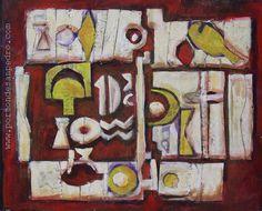 """Edwin Studer (Taller Torres García) """"Collage rojo"""" Collage y óleo sobre cartón 45 X 55 cms. Año 1996  http://www.portondesanpedro.com/ver-producto.php?id=9631"""