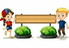 Boy and girl by the wooden board Royalty Free Vector Image Borders For Paper, Borders And Frames, School Border, School Coloring Pages, School Frame, Cartoon Pics, Girl Cartoon, Free Cartoons, Art Background