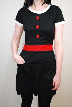 60s Retro Style Black and Red Shrimpton Mod Dress: Amazon.co.uk: Clothing